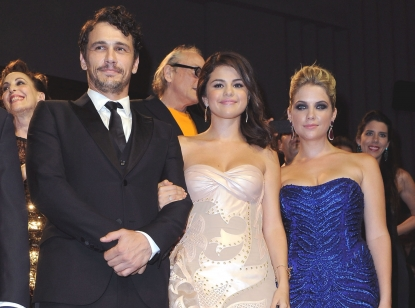 James Franco, Selena Gomez and Ashley Benson inside the 'Spring Breakers' Premiere during The 69th Venice Film Festival at the Palazzo del Cinema in Venice, Italy on September 5, 2012