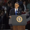 President Barack Obama delivers his victory speech after being re-elected for a second term at McCormick Place in Chicago on November 6, 2012