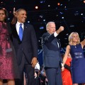 President Barack Obama flanked by First Lady Michelle Obama, and Vice-President Joe Biden and Second Lady Jill Biden wave to supporters following Obama's speech on election night November 6, 2012 in Chicago