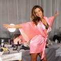 Miranda Kerr strikes a pose backstage at the 2012 Victoria's Secret Fashion Show at the Lexington Avenue Armory in New York City on November 7, 2012