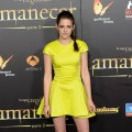 Kristen Stewart pops in a bright yellow dress at the premiere of &#8216;The Twilight Saga: Breaking Dawn - Part 2&#8217; in Madrid on November 15, 2012 