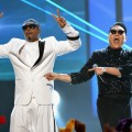 Hammer and PSY perform onstage during the 40th Anniversary American Music Awards held at Nokia Theatre L.A. Live in Los Angeles on November 18, 2012
