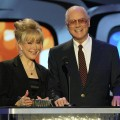 Barbara Eden and Larry Hagman present an award on stage at the 2nd Annual TV Land Awards at the Hollywood Palladium held on March 7, 2004