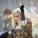 Ke$ha gets a kick out of her performance on NBC&#8217;s &#8216;Today&#8217; show at Rockefeller Plaza in New York City on November 20, 2012
