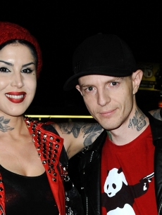 Kat Von D and DJ Deadmau5 (Joel Zimmerman) attend Opening Night Of 'Skulls' A Collective Show At Kat Von D's Wonderland Gallery in Los Angeles on November 2, 2012