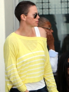 Charlize Theron is spotted with her new shaved head in Cape Town, South Africa on November 16, 2012