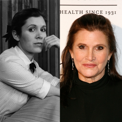 Carrie Fisher played one of her biggest roles as Princess Leia in the original 'Star Wars.'  She is seen (left) in 1977 and in (right) 2012