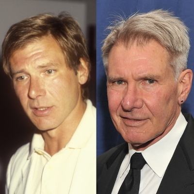 Harrison Ford, known for his role as Han Solo in the original 'Star Wars' film, is shown in 1985 and 27 years later in 2012