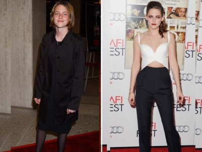 A young Kristen Stewart is pictured at the premiere of 'Panic Room' on March 18, 2002; Kristen 10 years later at the AFI Festival at the Grauman's Chinese Theatre on November 2, 2012