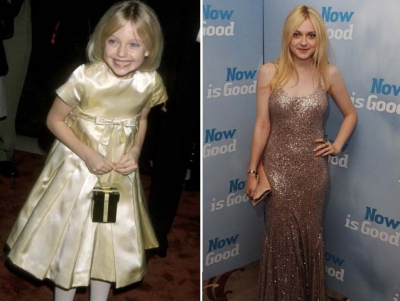 A little Dakota Fanning is pictured at the 'I Am Sam' Premiere on December 3, 2001; Dakota is pictured 11 years later at the premiere of 'Now Is Good' at the Washington hotel in London, England on September 13, 2012