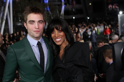 "Robert Pattinson and Shaun Robinson pose at ""The Twilight Saga: Breaking Dawn - Part 2"" Hollywood premiere"