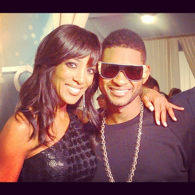 Access Hollywood's Shaun Robinson with Usher at the AMAs, Los Angeles, Nov. 18, 2012
