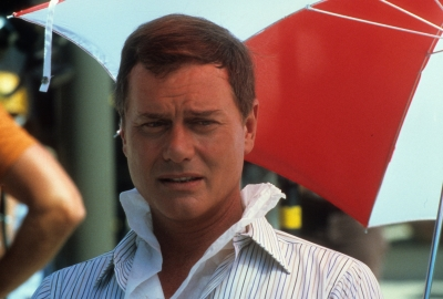 Larry Hagman on set of 'Dallas' in 1980 in Los Angeles