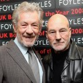 Ian McKellen and Patrick Stewart pose for photos before reading from 'The Letters of Samuel Beckett', and discussing their roles in a production of Waiting for Godot opening in London on 26 February, 2009