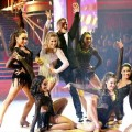 Shawn Johnson and Derek Hough perform a freestyle with the Fierce Five on 'Dancing with the Stars: All-Stars' finals, Nov. 26, 2012