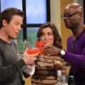 Mixologist Darryl Robinson toasts with Billy Bush and Kit Hoover on Access Hollywood Live on December 4, 2012