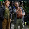 Martin Freeman and director Peter Jackson on the set of New Line Cinema's 'The Hobbit: An Unexpected Journey'