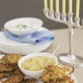 Potato latkes with applesauce