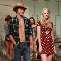 These models are seen showing off the Country Casual Boy and Girl look. He is wearing H&M's regular jeans ($39.95), a patterned flannel shirt ($24.95), and boots ($59.95.) She is wearing  a red poka dot Topshop Dress ($79), a Desu necklace ($125), a Forever 21 bad ($19.80), a H&M ring ($5.95), and Aldo boots ($150)