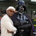 Samuel L. Jackson and Darth Vader at the Grauman&#8217;s Chinese Theater in Hollywood, May 2002