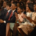 President Barack Obama, Sasha Obama, Malia Obama, and First Lady Michelle Obama attend TNT Christmas in Washington 2012 at National Building Museum on December 9, 2012 in Washington, DC.