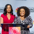 Garcelle Beauvais and Yvette Nicole-Brown announce the nominees at the 44th NAACP Image Awards Press Conference at The Paley Center for Media, Beverly Hills, on December 11, 2012