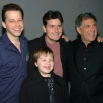 Jon Cryer, Charlie Sheen, Leslie Moonves, co-president and co-COO Viacom and chairman CBS, and Angus T. Jones, Jan. 18, 2005