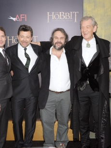 Martin Freeman, Elijah Wood, Andy Serkis, Sir Peter Jackson, Sir Ian McKellen, and Richard Armitage attend 'The Hobbit: An Unexpected Journey' New York premiere benefiting AFI - Red Carpet And Introduction at Ziegfeld Theater, New York City, on December 6, 2012