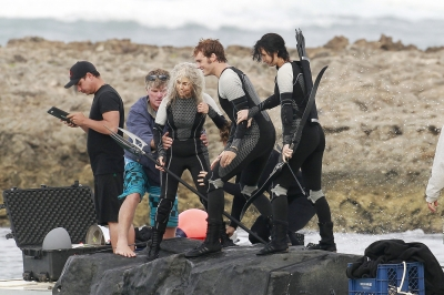 Jennifer Lawrence, Sam Claflin and Lynn Cohen spotted on the set of 'The Hunger Games: Catching Fire' in Hawaii on November 26, 2012