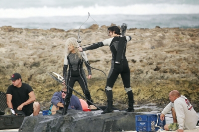 Jennifer Lawrence and Lynn Cohen in action on the set of 'The Hunger Games: Catching Fire' in Hawaii on November 26, 2012