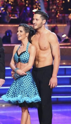 Kelly Monaco and Valentin Chmerkovskiy listen to the judges after their instant dance on the 'Dancing with the Stars: All-Stars' Season finale, Nov. 27, 2012