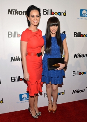 A glamorous Katy Perry  and Carly Rae Jepsen shine on the carpet of the 2012 Billboard Women In Music Luncheon at Capitale on November 30, 2012 in New York City