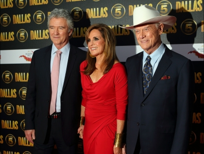 Patrick Duffy, Linda Grey and Larry Hagman attend a party to celebrate the new Channel 5 television series of &#8216;Dallas&#8217;, at Old Billingsgate, London, on August 21, 2012