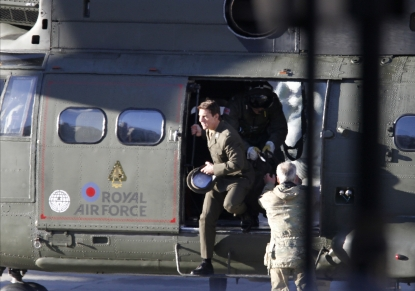 Tom Cruise is spotted flying in and RAF helicopter on set for the movie 'All You Need Is Kill' being filmed in Trafalgar Square, London, on November 25, 2012