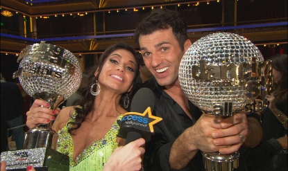 Melissa Rycroft and Tony Dovolani celebrate their 'Dancing with the Stars: All-Stars' mirrorball glory, Nov. 27, 2012