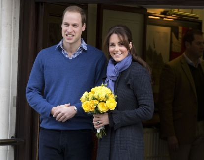 Catherine, Duchess of Cambridge and Prince William, Duke of Cambridge leave the King Edward VII hospital where she has been treated for extreme morning sickness at King Edward VII Hospital in London on December 6, 2012