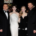 Russell Crowe, Anne Hathaway, Amanda Seyfried and Hugh Jackman attend the World Premiere of 'Les Miserables' at Odeon Leicester Square on December 5, 2012 in London