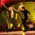 Lady Gaga performs with The Rolling Stones at the Prudential Center in Newark, New Jersey on December 15, 2012
