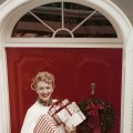 Actress Eve Arden gets into the holiday spirit, circa 1950