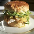 The Parish's Fried Chicken, Maple, and Pickle Biscuit Sandwich