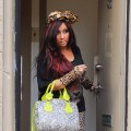 Nicole 'Snooki' Polizzi films a scene of her 'Jersey Shore' spinoff reality show at her apartment on March 7, 2012