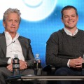 Michael Douglas and Matt Damon speak about the new HBO film 'Behind The Candelabra' during the HBO Winter 2013 TCA Panel at The Langham Huntington Hotel and Spa, Pasadena, Calif.,  on January 4, 2013