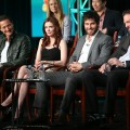 Sasha Roiz, Bitsie Tulloch, David Giuntoli, and Silas Weir Mitchel speak onstage at the 'Grimm' panel session during the NBCUniversal portion of the 2013 Winter TCA Tour- Day 3 at the Langham Hotel on January 6, 2013 in Pasadena, California