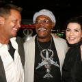 Director David R. Ellis, actors Samuel L. Jackson and Julianna Margulies share a laugh during the arrivals for the premiere of New Line Cinema's 'Snakes On A Plane' at Grauman's Chinese Theatre on August 17, 2006 in Los Angeles, California