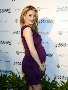 Baby bumpin'! Holly Madison flashes a smile at the Rock Of Ages opening after party at The Venetian in Las Vegas on January 5, 2013