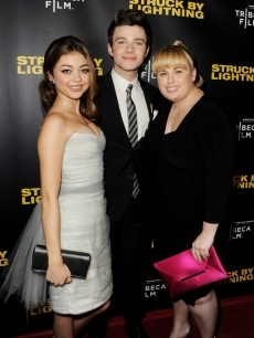 Sarah Hyland, Chris Colfer and Rebel Wilson arrive at a screening of Tribeca Film&#8217;s &#8216;Struck By Lightning&#8217; on January 6, 2013 in Los Angeles