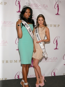 Miss USA Nana Meriwether and Miss Universe Olivia Culpo attend the crowning ceremony of the new Miss USA at Trump Tower on January 9, 2013 in New York City