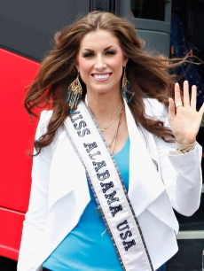 Miss Alabama USA Katherine Webb exits a sightseeing bus on May 8, 2012 in New York City