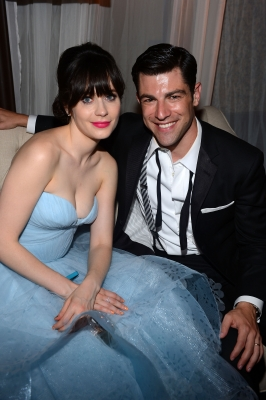 Zooey Deschanel and Max Greenfield attend FOX Broadcasting Company, Twentieth Century FOX Television and FX post Emmy party at Soleto, Los Angeles, on September 23, 2012