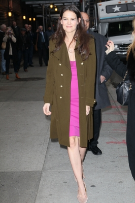 Katie Holmes seen arriving at 'Late Show with David Letterman' at Ed Sullivan Theater in New York City on December 20, 2012
